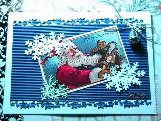 """Доброго всем времени суток!!! Вот моя очередная партия новогодних открыток!!! Хочется успеть сделать все свои задумки!!! Прощу прощения за фото, но уже и лампу настольную включила, а все равно все плохо получилось ((( Итак.... Приобрела я дырокол """"снежинка"""" размер большооой, и давай снежинок дыроколить, я делала, муж потом тоже этим делом занялся, а после и детишки прибежали!!! Раз снежинки есть, надо их в дело пускать!!! фото 2"""