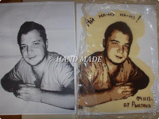 """Вот такой вот подарок сделала я другу на день рождения:)))подарила ему самого себя, только шоколадного))))итак, начнем)я взяла фотографию и в программе """"фотошоп"""" изменила фотографию фото 12"""