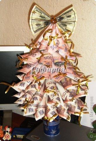 Елка из бумажных денег своими руками