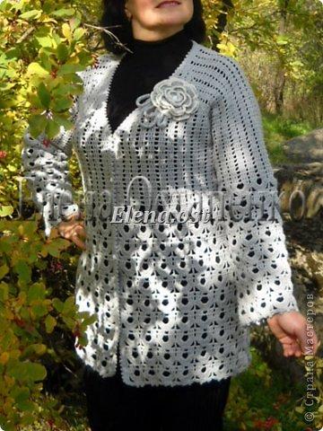 Связала комплект осенний: тунику и кардиган. Для вязания использовала японские схемы. Планирую носить кардиган с туникой или с черной водолазкой.  фото 2