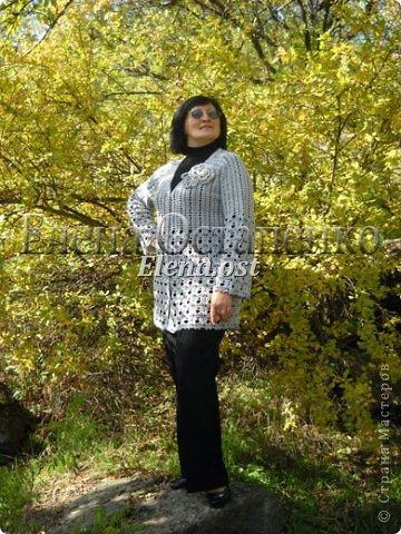 Связала комплект осенний: тунику и кардиган. Для вязания использовала японские схемы. Планирую носить кардиган с туникой или с черной водолазкой.  фото 3