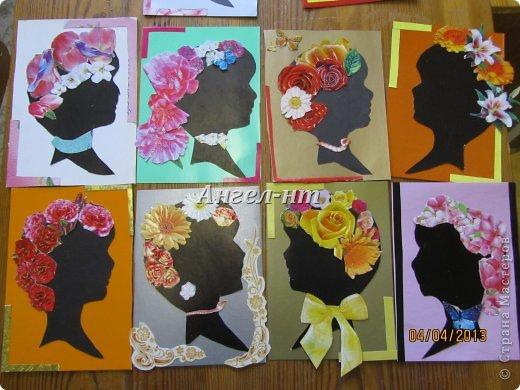 Силуэт ребята вырезали по шаблону, а цветы - из открыток фото 1
