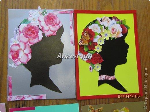 Силуэт ребята вырезали по шаблону, а цветы - из открыток фото 2