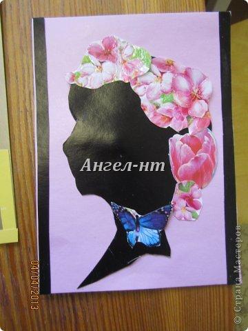 Силуэт ребята вырезали по шаблону, а цветы - из открыток фото 3