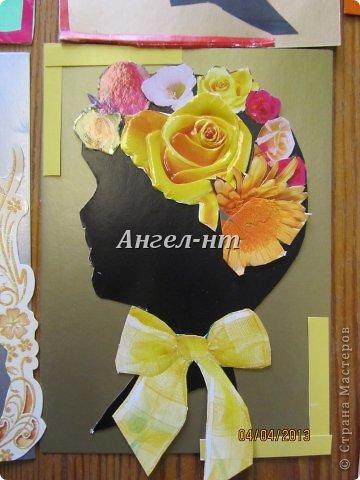 Силуэт ребята вырезали по шаблону, а цветы - из открыток фото 4