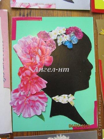 Силуэт ребята вырезали по шаблону, а цветы - из открыток фото 5