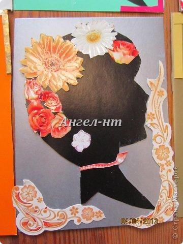 Силуэт ребята вырезали по шаблону, а цветы - из открыток фото 6