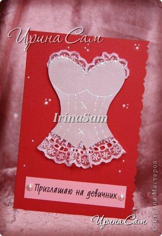 Мои новые открыточки, тема как всегда свадебная) Решила сделать пригласительные на девичник... фото 1