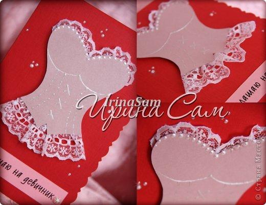 Мои новые открыточки, тема как всегда свадебная) Решила сделать пригласительные на девичник... фото 2