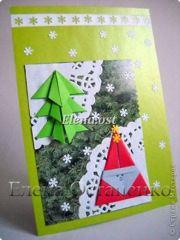 Люблю вязать и заниматься оригами. Попробовала объединить вязаные элементы и оригами-фигурки для создания новогодних открыток. Для работы использовала картон поделочный для детского творчества, цветную офисную бумагу, салфетки, пряжу. Из пряжи Gazzal-Dennis крючком №1.25 связала снежинки, смочила их водой с клеем ПВА и положила в расправленном виде для высыхания. Когда снежинки высохнут, приклеиваем их на картон или бумагу для акварели.  фото 26