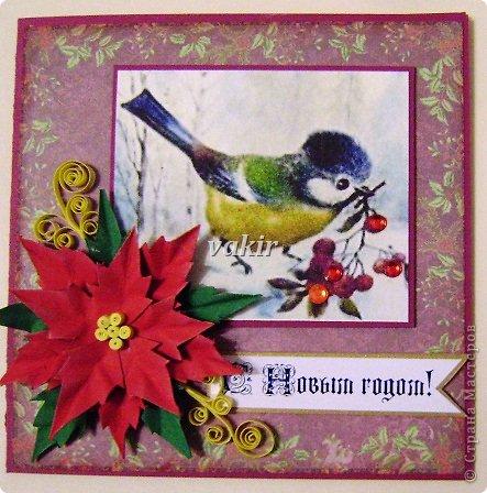 """Здравствуй, родная Страна! СКОРО НОВЫЙ ГОД! Зимою мир становится добрей И веселей от праздничных забот Приятно просыпаться в декабре И знать, что скоро будет Новый год! Украшенная елка и огни, Подарки, стенгазета у окна. И я, как в детстве, подгоняю дни, Чтобы осталась только ночь одна. Хочу за новогодний шумный стол, Хочу салат, """"Иронию судьбы"""", И чтобы Дед Мороз опять пришел, Хочу сюрпризов сказочных, любых... И пусть летит опавшая листва, Но если время праздника пришло, Мы так хотим немного волшебства И учимся другим дарить тепло! Под елочкой появятся опять Подарки, незаметно, как всегда... И будет над игрушками сиять Живая, настоящая звезда! И будут свечи на столе гореть, Как знак любви, как будущего код... Приятно просыпаться в декабре И точно знать, что скоро Новый год!                                 Петр Давыдов  В преддверии самого любимого многими праздника тему для воплощения своих творческих порывов выдумывать не надо. На свет рождаются новогодние подарки. В данном случае - открытки. У меня получилась птичья подборка. Синичко-снигирёвые открыточки Олечки Качуровской стали вдохновителем. Первая и вторая открыточки - с квиллинговыми птичками. фото 6"""