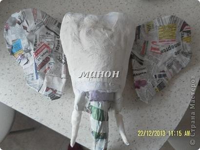 Мастер-класс Папье-маше МК по слону Бумага газетная Гипс фото 5