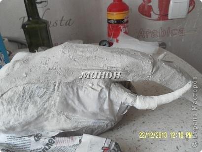 Мастер-класс Папье-маше МК по слону Бумага газетная Гипс фото 7