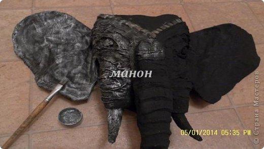 Мастер-класс Папье-маше МК по слону Бумага газетная Гипс фото 10