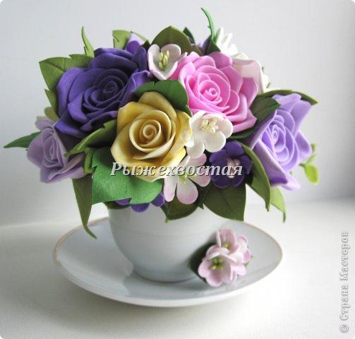 Добрый день, дорогие мои девочки!!!! Чашечка с нежными розочками размером всего 11 на 11 см)))) Не люблю я почему-то делать большие розы,мне больше нравятся малюсенькие!!! Даже броши я делаю именно из таких мелких цветочков!