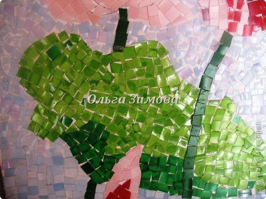 """Это наши работы на конкурс """" Золотой ключик""""(размер 30 на 45) Мозаика из пластмассовых кусочков разного цвета. Очень кропотливая и долгая работа. Тематика местная, астраханская. Резали и пластиковые бутылки и бутылочки из под шампуней, бальзамов  и т п. фото 7"""