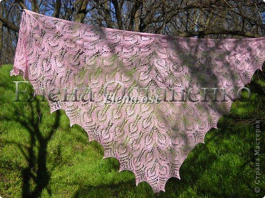 Весна пришла цветущая. И я непременно радую себя красивой шалью в розовых тонах. Моя новая шаль Гейл - Gail shawl  by Jane Araújo. Связала из Gazzal EXCLUSIVE - 100 г. Спицы №3. Бисер использовала чешский. фото 4