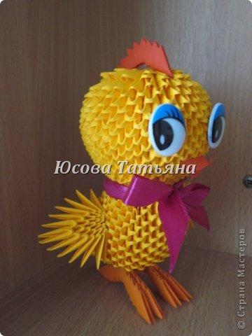 Со Светлой Пасхой!  На просторах интернета увидела рисунок цыпленка  автором которого является Синицына Ирина, и решила воплотить его в модульном оригами. Вот что получилось. фото 2