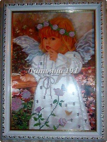 С этого ангелочка все началось-увидела и заболела вышивкой бисером.