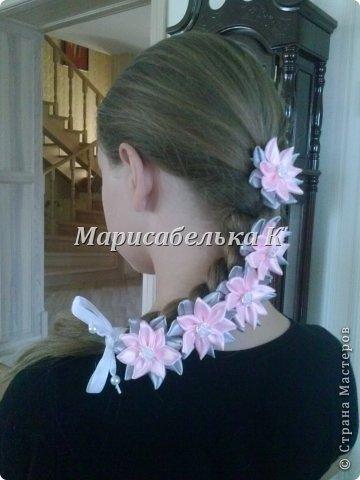 Атласная лента с цветами в косу мастер класс