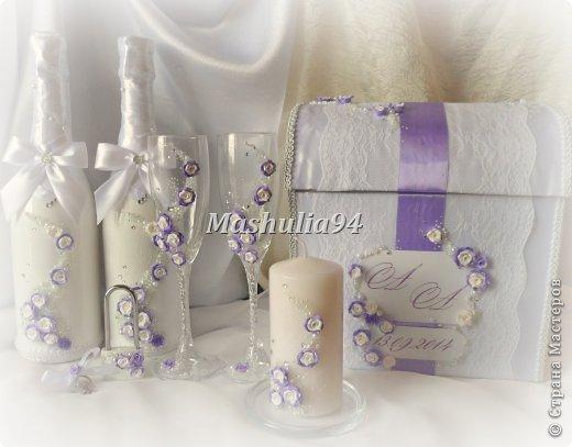 Добрый вечер, девочки)) заказали мне свадебный набор в нежно сиреневых оттенках, вот что получилось)) фото 1