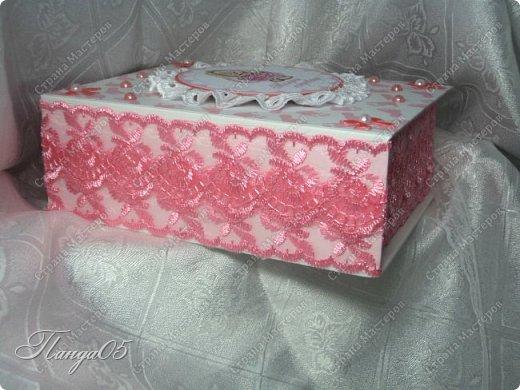"""Здравствуйте!  Представляю вам мою следующую работу - набор коробочек """"Мамины сокровища"""" для маленькой принцессы Виктории. Сделана она на заказ, но бумагу и отделку я выбрала сама, единственным пожеланием заказчицы был бело-розовый цвет. Основная коробка -  готовая, в виде книги, размер 17 на 13 на 5,5 см. На всё ушел ровно один лист скрапбумаги 30,5 на 30,5 см, обрезки остались ооочень маленькие, я из них цветочков мелких надыроколила. Бумага от Скрапмир коллекция """"Наша малышка"""" - """"Отпечатки"""". Названия коробочек - распечатка на матовой фотобумаге.  Как и всегда - у меня всё просто. фото 4"""