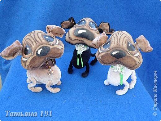 Собачки выполнены из плюша и велюра с мордочками в технике грунтованный текстиль по мк Л.Набиуллиной. фото 1