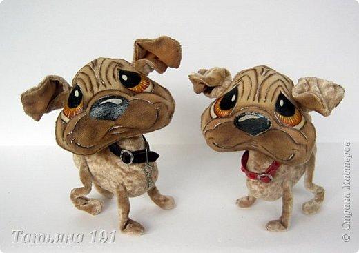 Собачки выполнены из плюша и велюра с мордочками в технике грунтованный текстиль по мк Л.Набиуллиной. фото 12