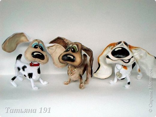 Собачки выполнены из плюша и велюра с мордочками в технике грунтованный текстиль по мк Л.Набиуллиной. фото 4