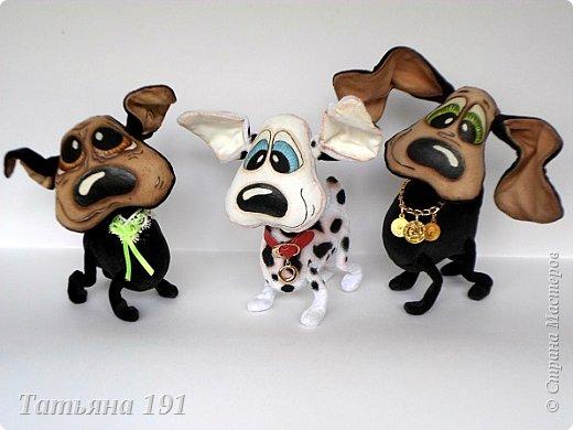 Собачки выполнены из плюша и велюра с мордочками в технике грунтованный текстиль по мк Л.Набиуллиной. фото 8