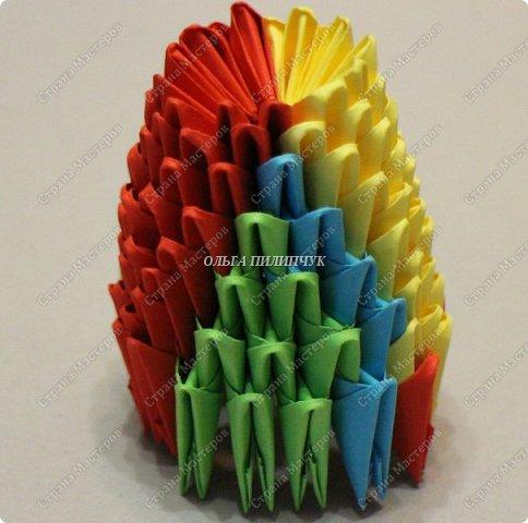 Для сборки петуха необходимо всего 359 модулей  (1/32) 150 - модулей красного  цвета 101 -  модуль жёлтого цвета    51 -  модуль зелёного цвета    40 -  модулей синего цвета    17 -  модулей оранжевого цвета   фото 11
