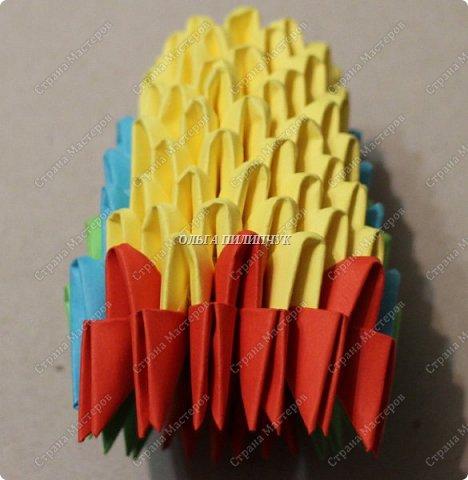 Для сборки петуха необходимо всего 359 модулей  (1/32) 150 - модулей красного  цвета 101 -  модуль жёлтого цвета    51 -  модуль зелёного цвета    40 -  модулей синего цвета    17 -  модулей оранжевого цвета   фото 13